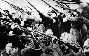 Bolsheviks attack the Winter Palace, 1917.